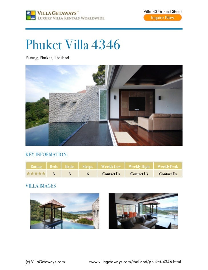 Villa 4346 Fact SheetPhuket Villa 4346Patong, Phuket, ThailandKEY INFORMATION:  Rating     Beds       Baths   Sleeps      ...