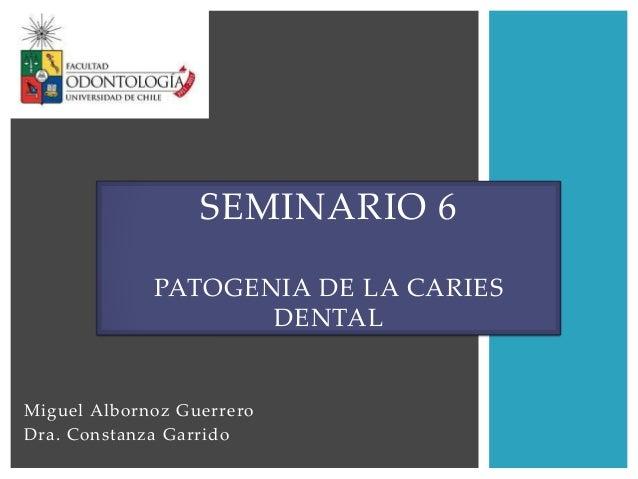 Miguel Albornoz GuerreroDra. Constanza GarridoSEMINARIO 6PATOGENIA DE LA CARIESDENTAL