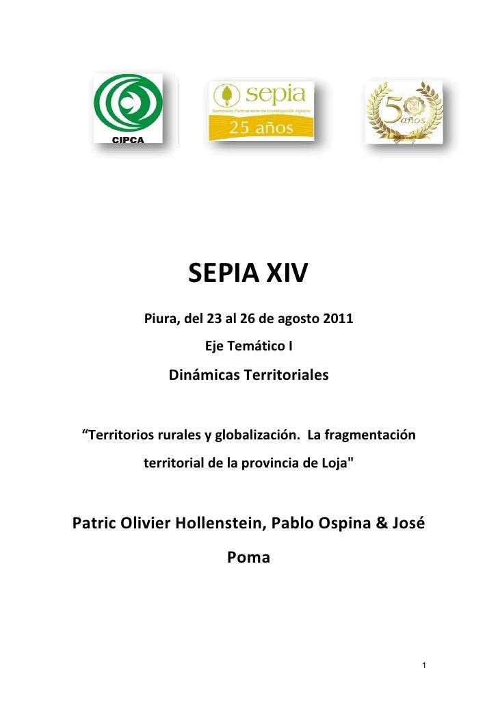 SEPIAXIV           Piura,del23al26deagosto2011                     EjeTemáticoI               DinámicasTerri...