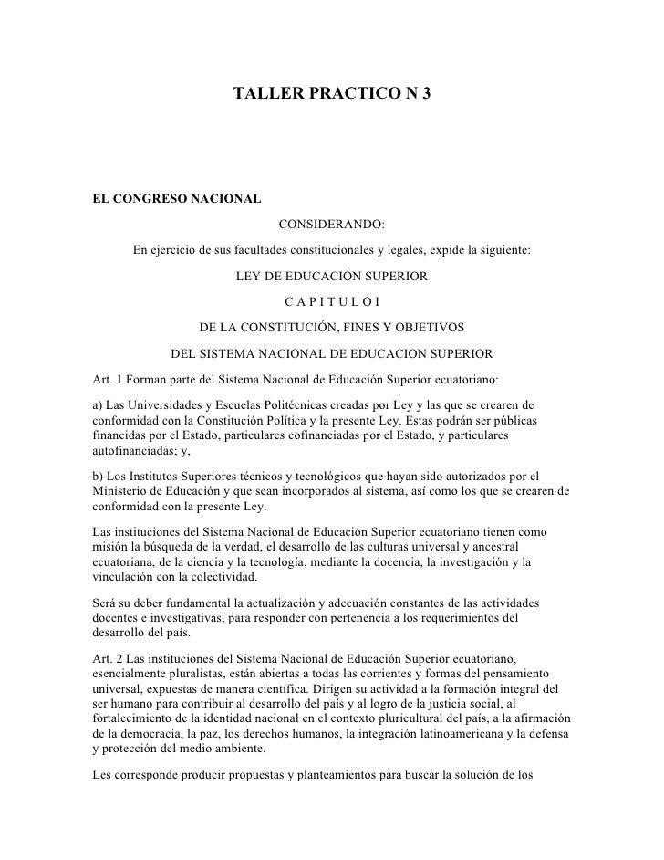 TALLER PRACTICO N 3     EL CONGRESO NACIONAL                                      CONSIDERANDO:         En ejercicio de su...