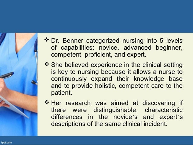 benner model Benner (1984) describe the development of professional clinical practice of nurses benner's model identifies the model of professional socialization benner (2000) introduced the concept of the nursing experience from novice to expert.