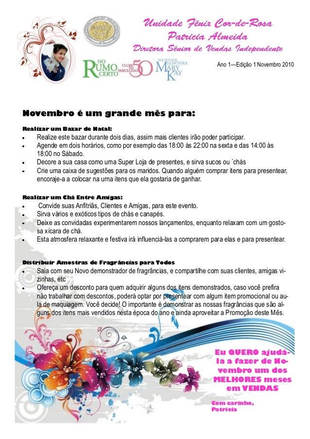 Ano 1—Edição 1 Novembro 2010 Novembro é um grande mês para: Realizar um Bazar de Natal: Realize este bazar durante dois di...
