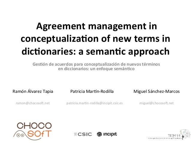 Agreement management in conceptualization of new terms in