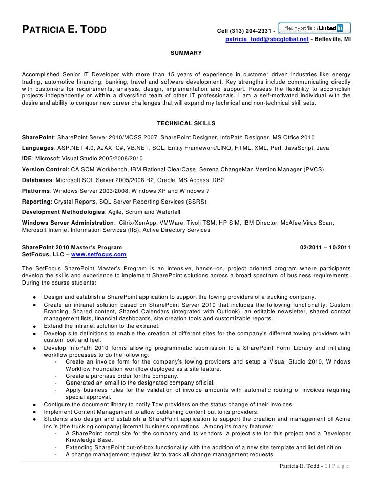 business objects administrator resume network and computer patricia todd sharepoint resume - Business Object Resume
