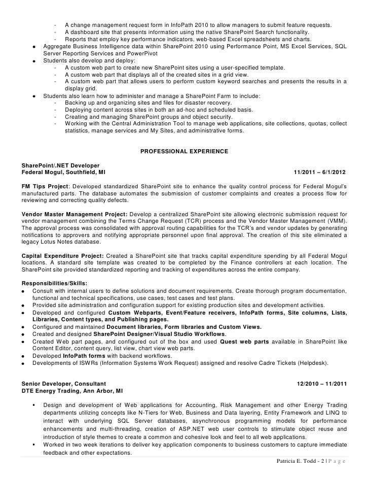 ... A G E ; 2.  Sharepoint Developer Resume