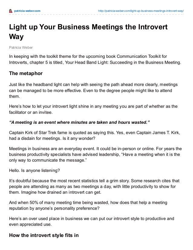 patricia-weber.com http://patricia-weber.com/light-up-business-meetings-introvert-way/ Patricia Weber Light up Your Busine...