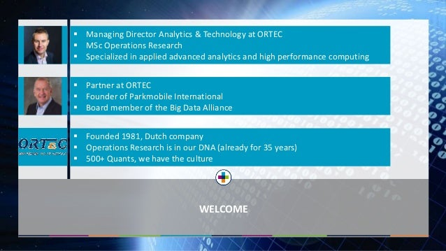 WELCOME  Managing Director Analytics & Technology at ORTEC  MSc Operations Research  Specialized in applied advanced an...