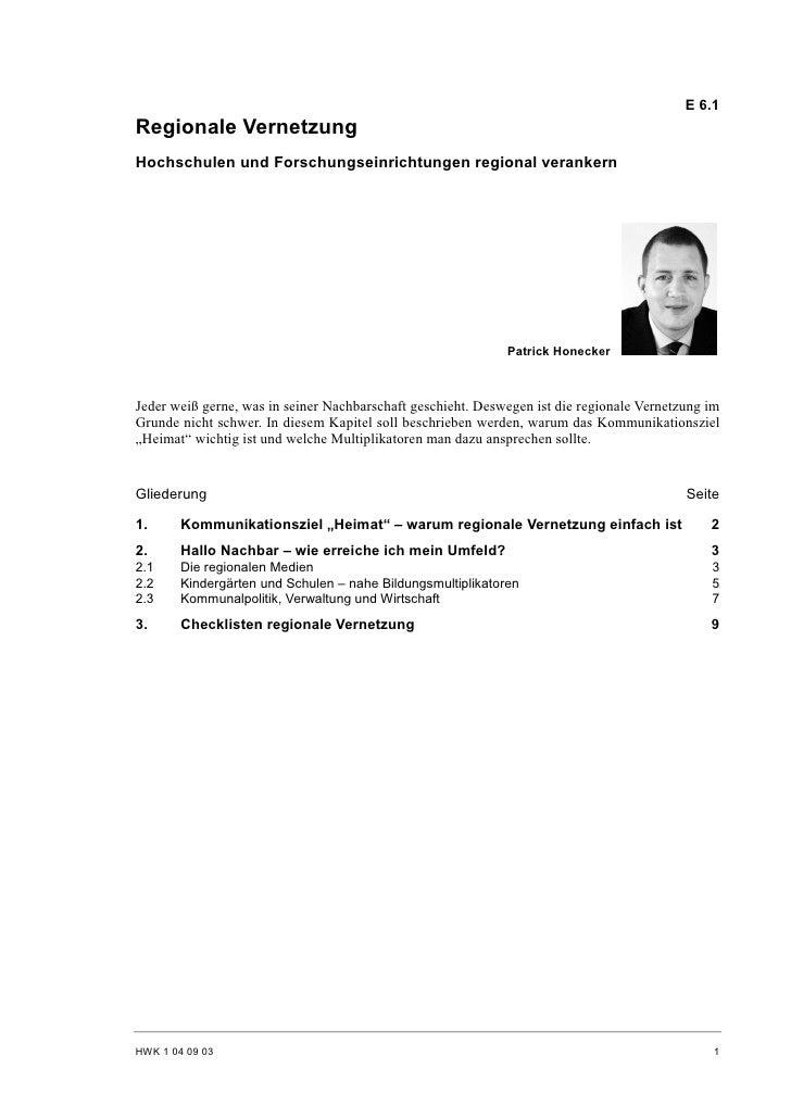 E 6.1 Regionale Vernetzung Hochschulen und Forschungseinrichtungen regional verankern                                     ...