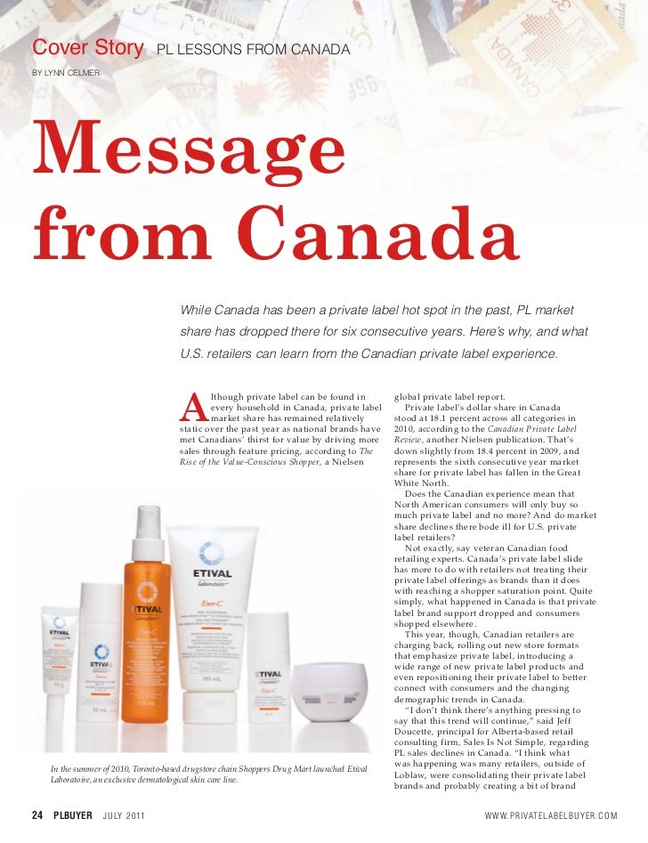 Cover Story                        PL LESSONS FROM CANADABY LYNN CELMERBY LYNN CELMERMessagefrom Canada                   ...