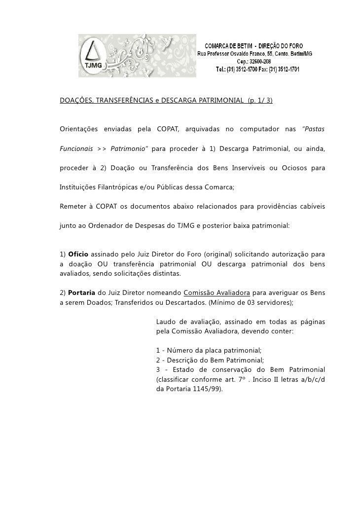 """DOAÇÔES, TRANSFERÊNCIAS e DESCARGA PATRIMONIAL (p. 1/ 3)Orientações enviadas pela COPAT, arquivadas no computador nas """"Pas..."""