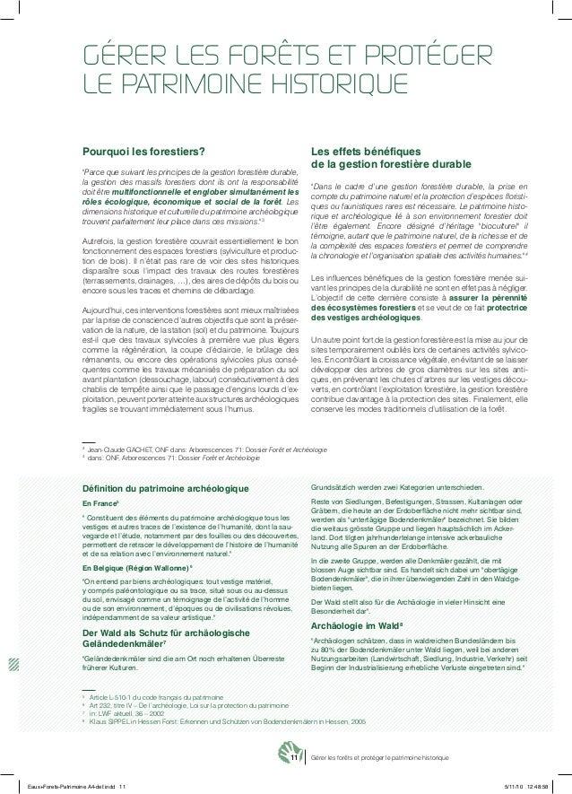 """11 Gérer les forêts et protéger le patrimoine historique Pourquoi les forestiers? """"Parce que suivant les principes de la g..."""
