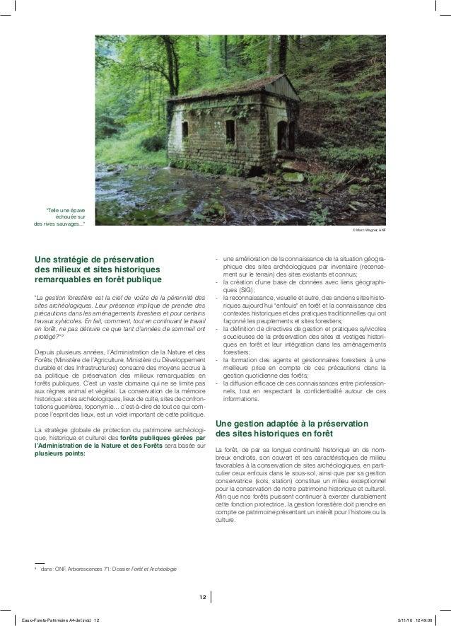 """12 Une stratégie de préservation des milieux et sites historiques remarquables en forêt publique """"La gestion forestière es..."""