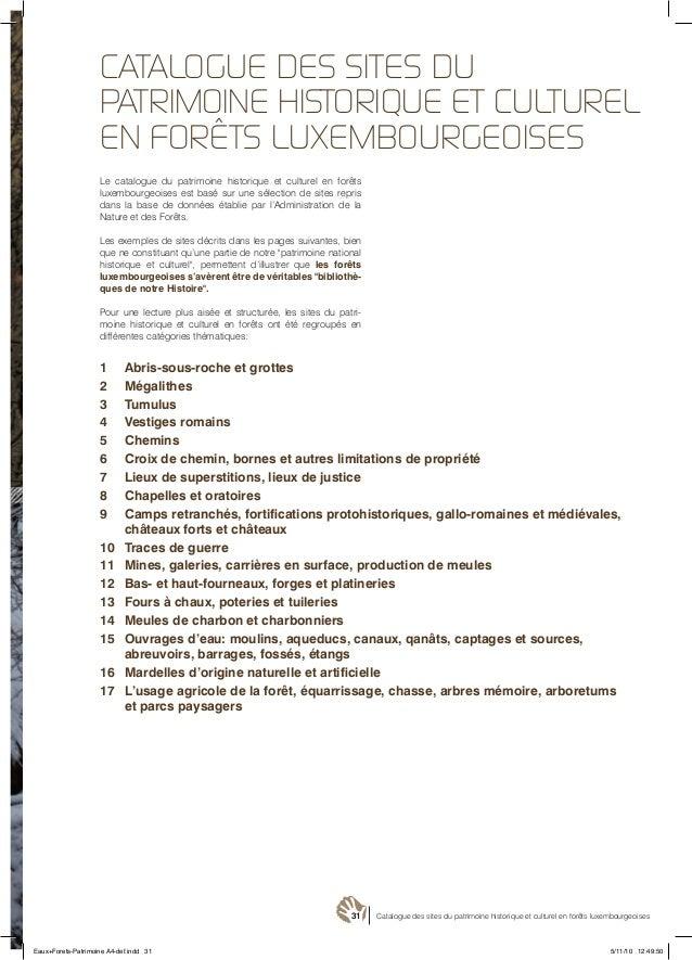 31 Catalogue des sites du patrimoine historique et culturel en forêts luxembourgeoises Le catalogue du patrimoine historiq...