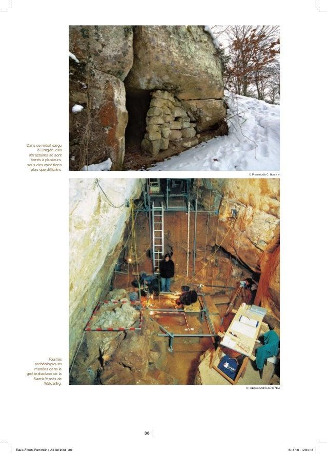 36 Fouilles archéologiques menées dans la grotte-diaclase de la Karelslé près de Waldbillig. Dans ce réduit exigu à Lintge...