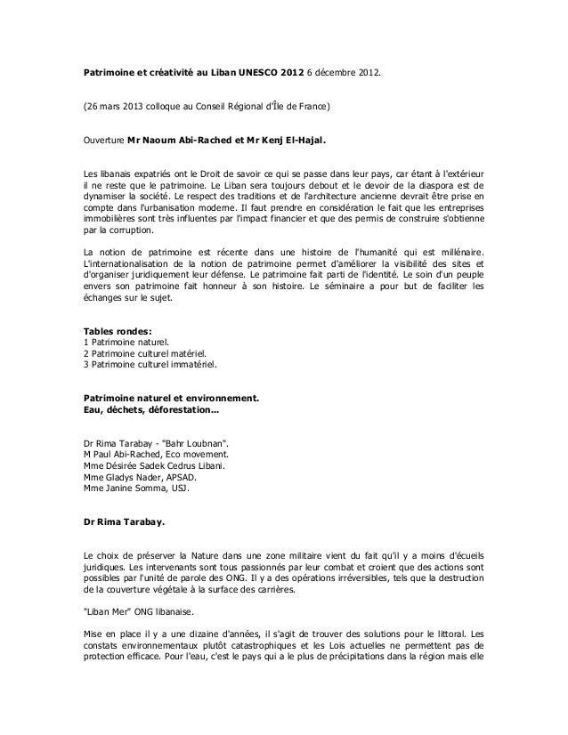 Patrimoine et créativité au Liban UNESCO 2012 6 décembre 2012.(26 mars 2013 colloque au Conseil Régional dÎle de France)Ou...