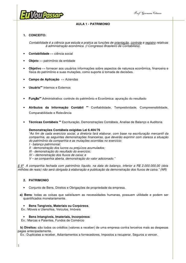 Prof.a Germana Chaves                                               AULA 1 - PATRIMONIO         1. CONCEITO:            Co...