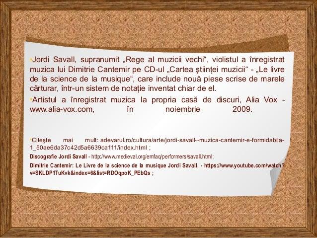 """•Jordi Savall, supranumit """"Rege al muzicii vechi"""", violistul a înregistrat muzica lui Dimitrie Cantemir pe CD-ul """"Cartea ş..."""