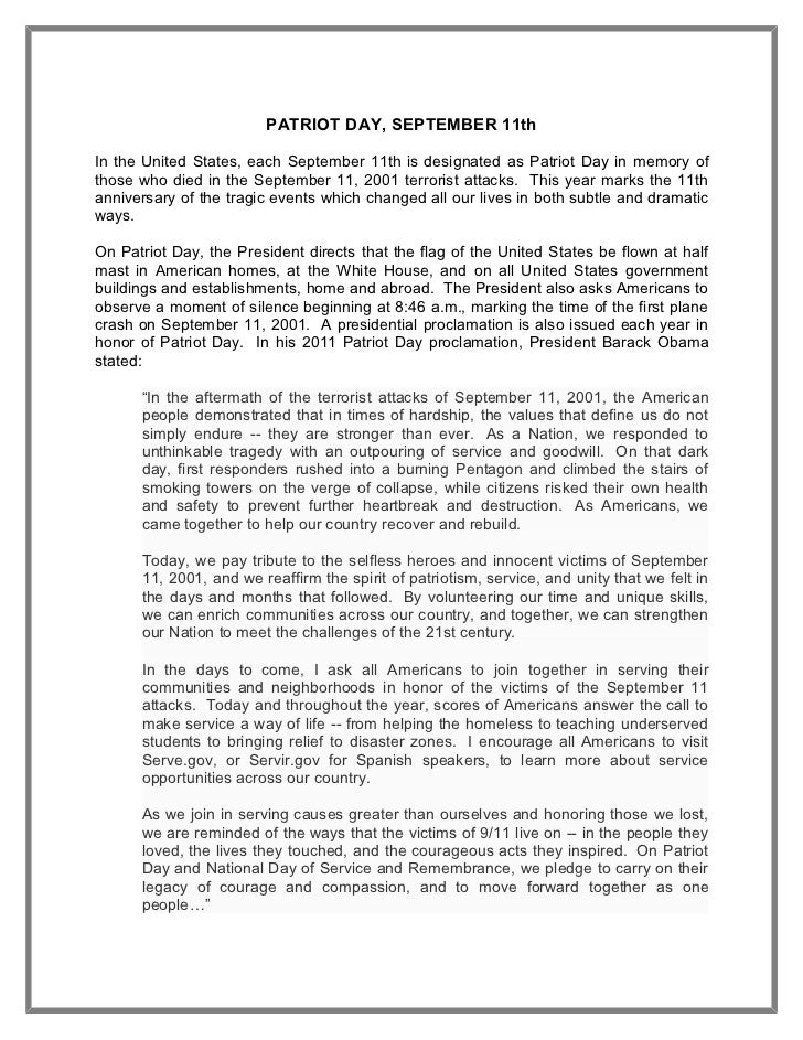 9-11 patriotism essay Patriotism essay patriotism essay and globalization after the attacks on 9/11 jensen defines patriotism in his talk delivered to the peace action national.