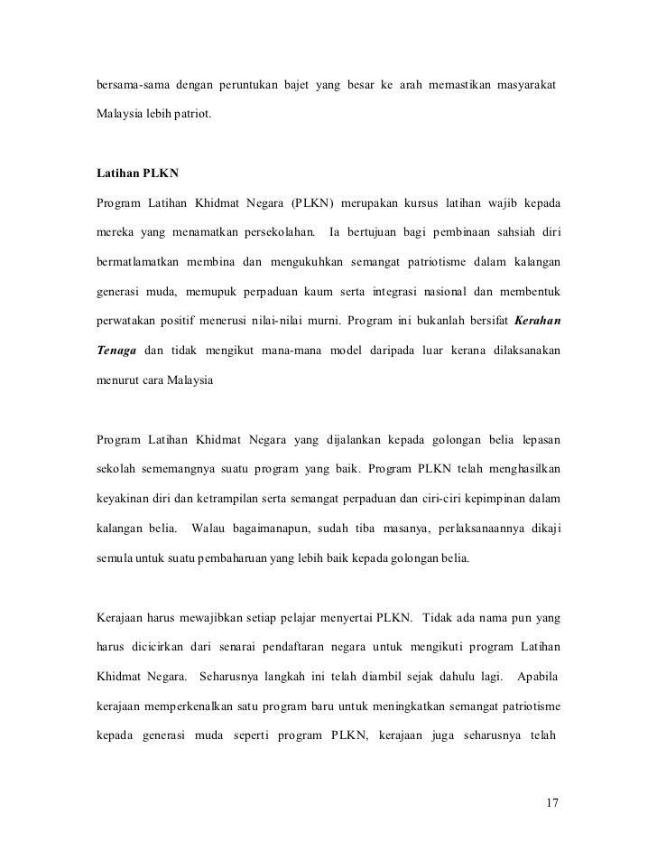 bersama-sama dengan peruntukan bajet yang besar ke arah memastikan masyarakatMalaysia lebih patriot.Latihan PLKNProgram La...