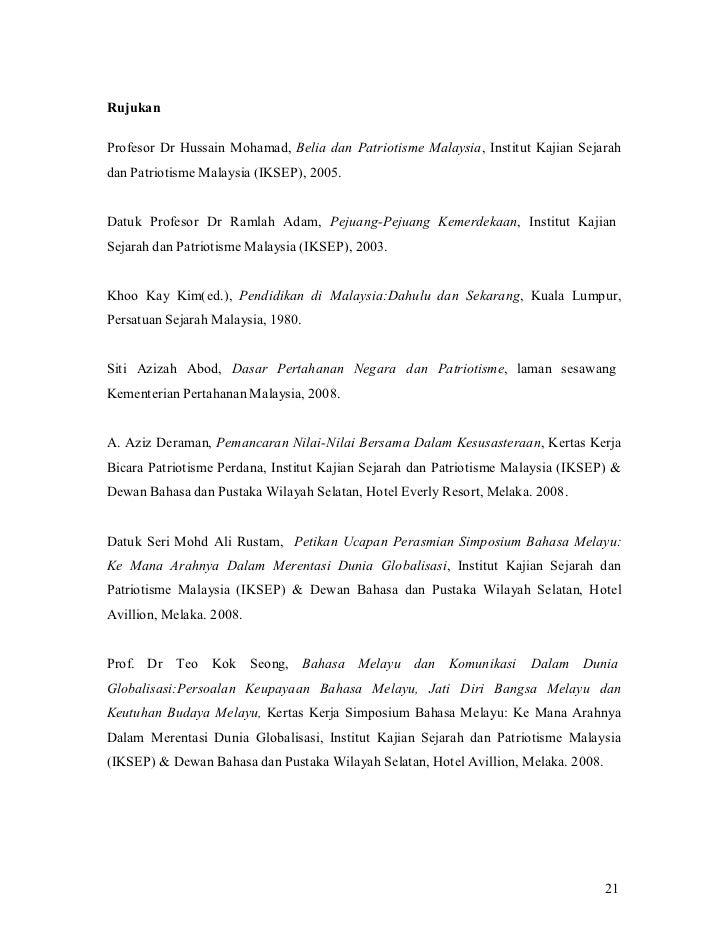 RujukanProfesor Dr Hussain Mohamad, Belia dan Patriotisme Malaysia, Institut Kajian Sejarahdan Patriotisme Malaysia (IKSEP...