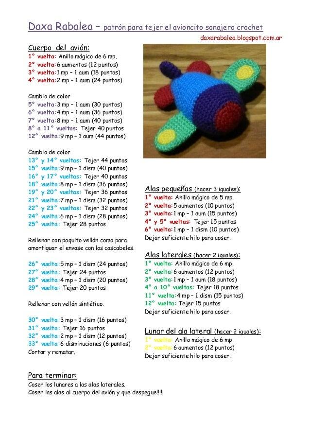 Daxa Rabalea –  patrón para tejer el avioncito sonajero crochet daxarabalea.blogspot.com.ar  Cuerpo del avión: 1° 2° 3° 4°...