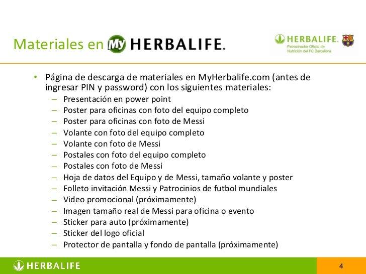 Materiales en  <ul><li>Página de descarga de materiales en MyHerbalife.com (antes de ingresar PIN y password) con los sigu...