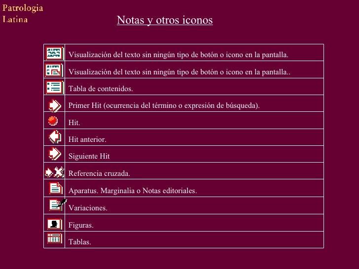 Notas y otros iconos Tablas.   Figuras.    Variaciones.   Aparatus. Marginalia o Notas editoria...