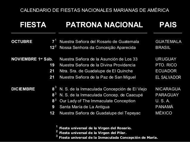 CALENDARIO DE FIESTAS NACIONALES MARIANAS DE AMÉRICA   FIESTA                   PATRONA NACIONAL                          ...