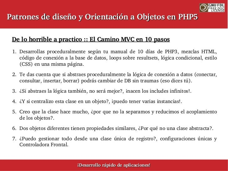 Patrones de diseño y Orientación a Objetos en PHP5 - v0.2.9