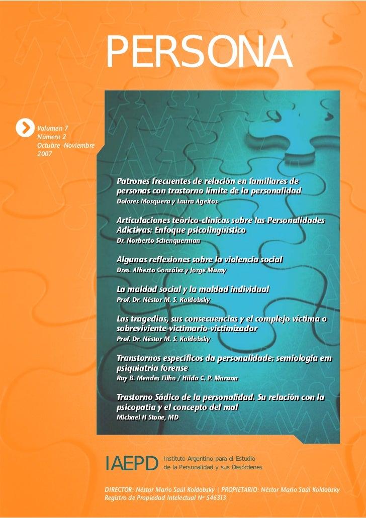 PERSONA Volumen 7 Número 2 Octubre -Noviembre 2007                            Patrones frecuentes de relación en familiare...