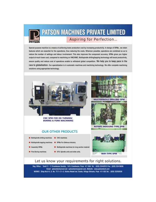 www. patsonmachines. com  PATSON MACHINES  Private Limited  Corporate Brochure  We are amongst the reliable and renowned m...