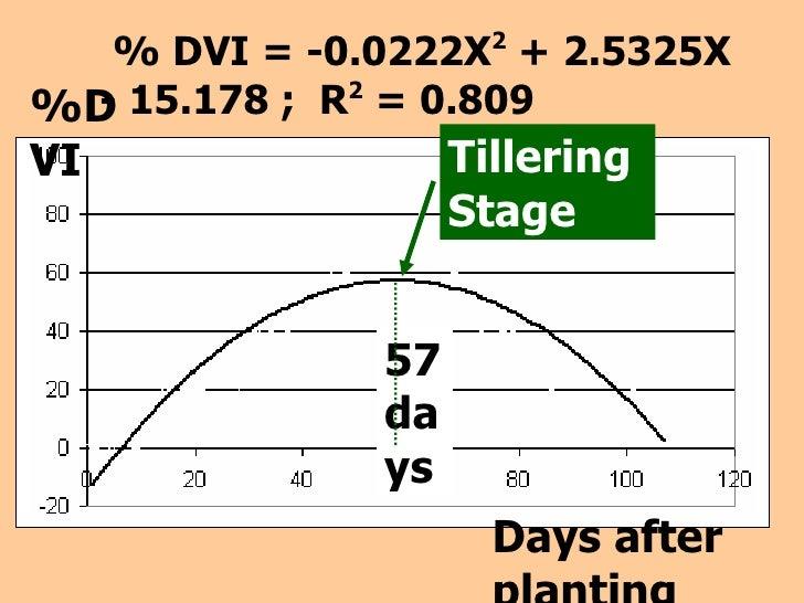 Days   after planting %DVI % DVI = -0.0222X 2  + 2.5325X - 15.178 ;  R 2  = 0.809 Tillering  Stage 57   days