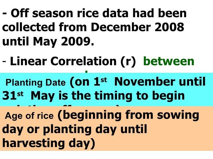 <ul><li>- Off season rice data had been collected from December 2008 until May 2009. </li></ul><ul><li>Linear Correlation ...