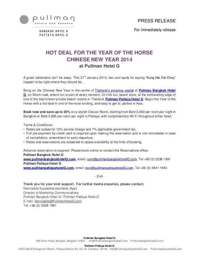 press release for immediately release hot deal for the year of the horse chinese new year