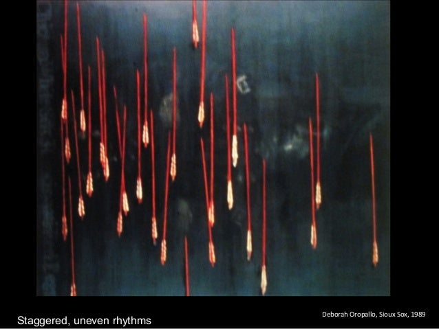 Deborah Oropallo, Sioux Sox, 1989 Staggered, uneven rhythms