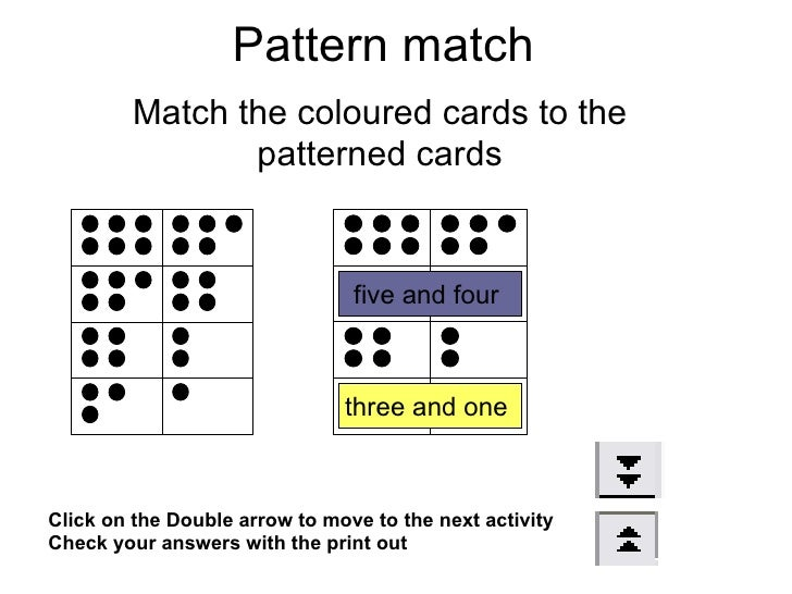 Pattern match Match the coloured cards to the patterned cards Click on the Double arrow to move to the next activity Check...