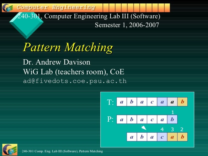 Pattern Matching Dr. Andrew Davison WiG Lab (teachers room) , CoE [email_address] .psu.ac.th 240-301, Computer Engineering...