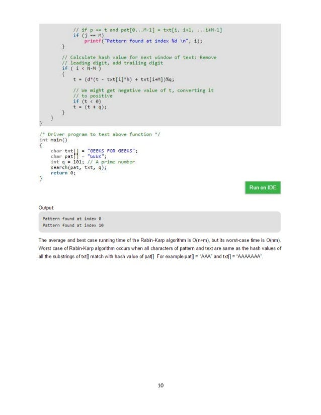 Pattern matching programs