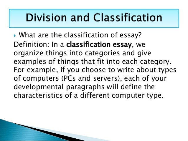 classification writing examples