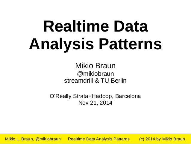 Realtime Data  Analysis Patterns  Mikio Braun  @mikiobraun  streamdrill & TU Berlin  O'Really Strata+Hadoop, Barcelona  No...