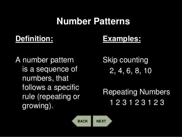 Patterns number and geometric Classy Patterns Definition