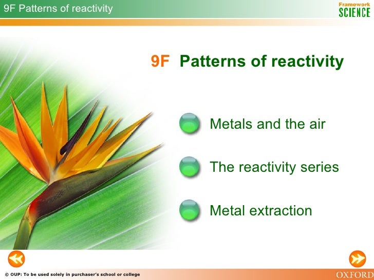 9F   Patterns of reactivity Metals and the air The reactivity series 9F Patterns of reactivity Metal extraction