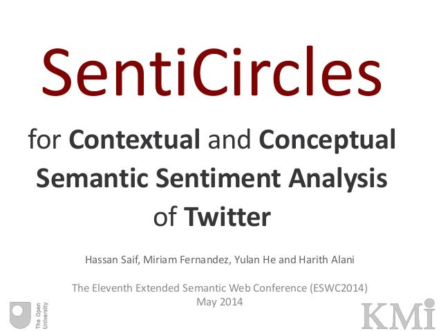 SentiCircles for Contextual and Conceptual Semantic Sentiment Analysis of Twitter Hassan Saif, Miriam Fernandez, Yulan He ...