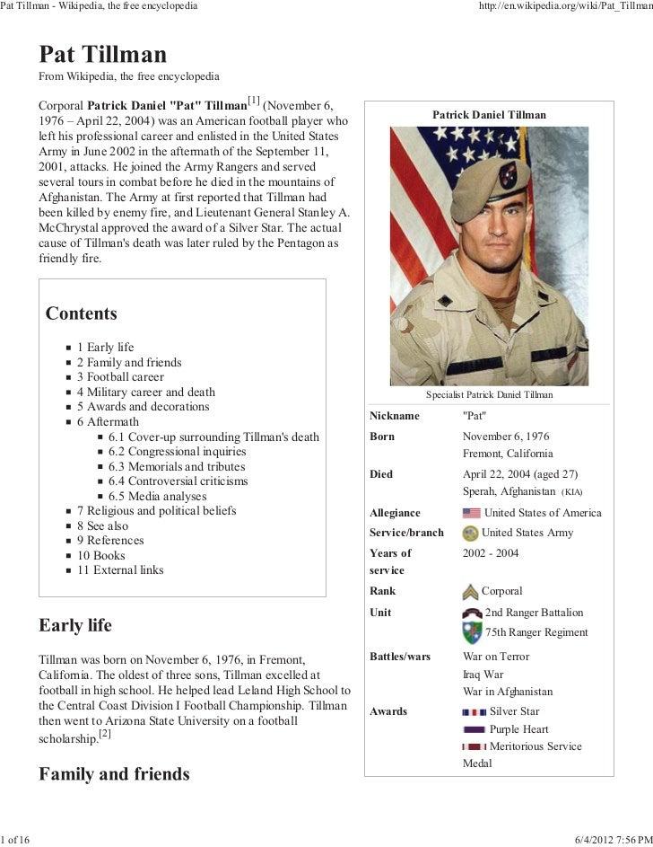 Pat Tillman - Wikipedia, the free encyclopedia                                                       http://en.wikipedia.o...