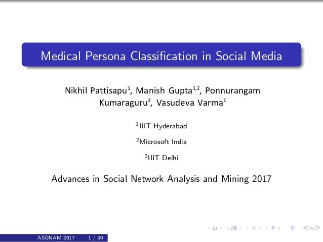 Medical Persona Classification in Social Media Nikhil Pattisapu1 , Manish Gupta1,2 , Ponnurangam Kumaraguru3 , Vasudeva Var...