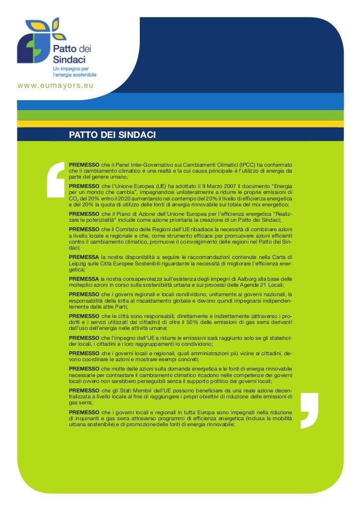 w ww.e u ma yors.e u             PATTO DEI SINDACI             PREMESSO che il Panel Inter-Governativo sui Cambiamenti Cli...