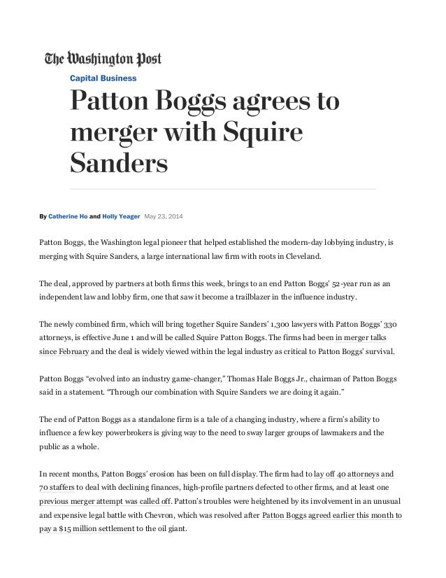 Patton Boggs, the Washington legal pioneer that helped established the modern-day lobbying industry, isPatton Boggs, the W...