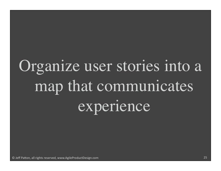 """Organize user stories into a       map that communicates             experience  !""""#$%""""&'()*+""""',,""""-./012""""-$2$-3$4+""""55567/...."""