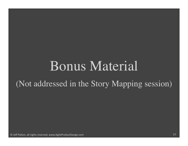 """Bonus Material     (Not addressed in the Story Mapping session)     !""""#$%""""&'()*+""""',,""""-./012""""-$2$-3$4+""""55567/.,$&-)4891:$2...."""