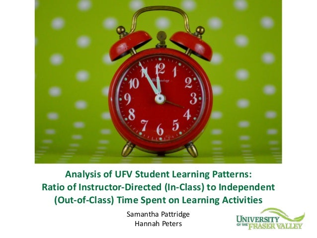 SamanthaPattridge HannahPeters AnalysisofUFVStudentLearningPatterns: RatioofInstructor-Directed(In-Class)toInd...